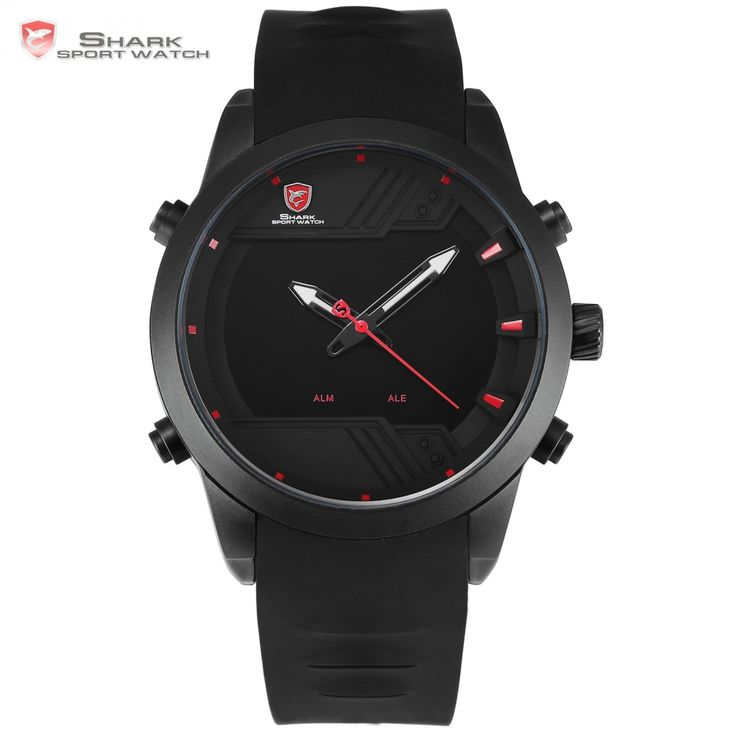 Sawback Angel Shark Sport Watch 2017 NEW LED Black Red Digital Date Alarm Dual Time Silicone Band Men Waterproof Watch /SH539