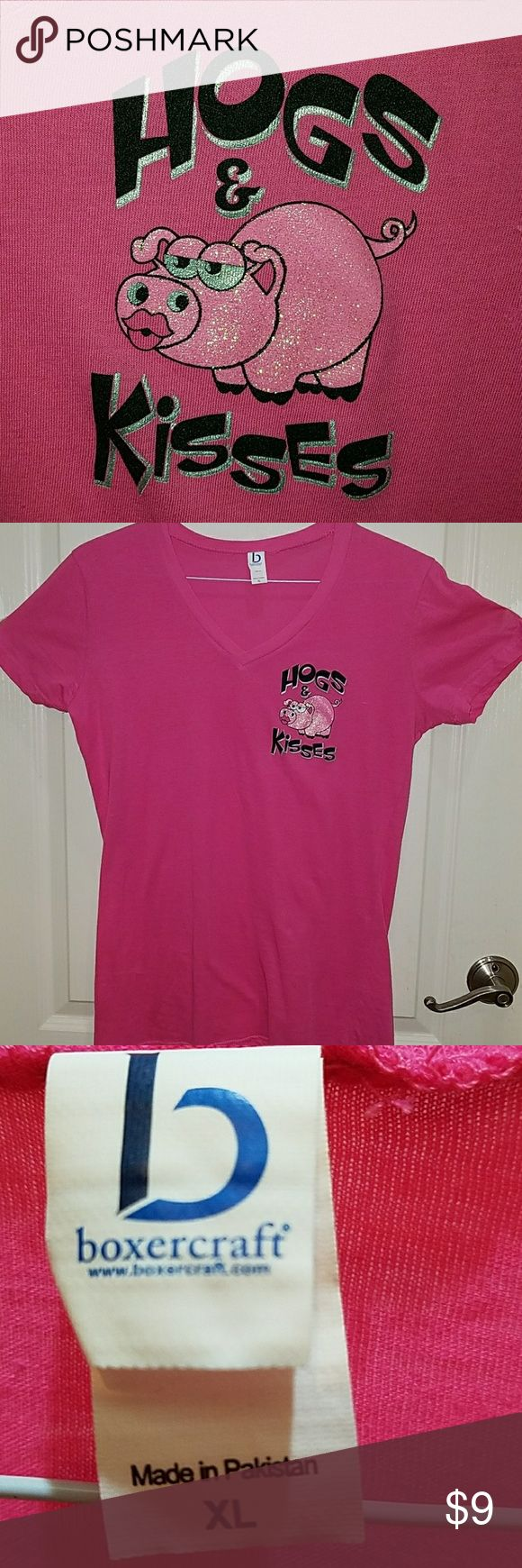 Ladies Hogs and Kisses T-shirt Pink V-neck t-shirt,  tag says XL, but it runs small, more like a Large.  Great for Harley girls! Smoke free home. Never worn. Boxercraft Tops Tees - Short Sleeve