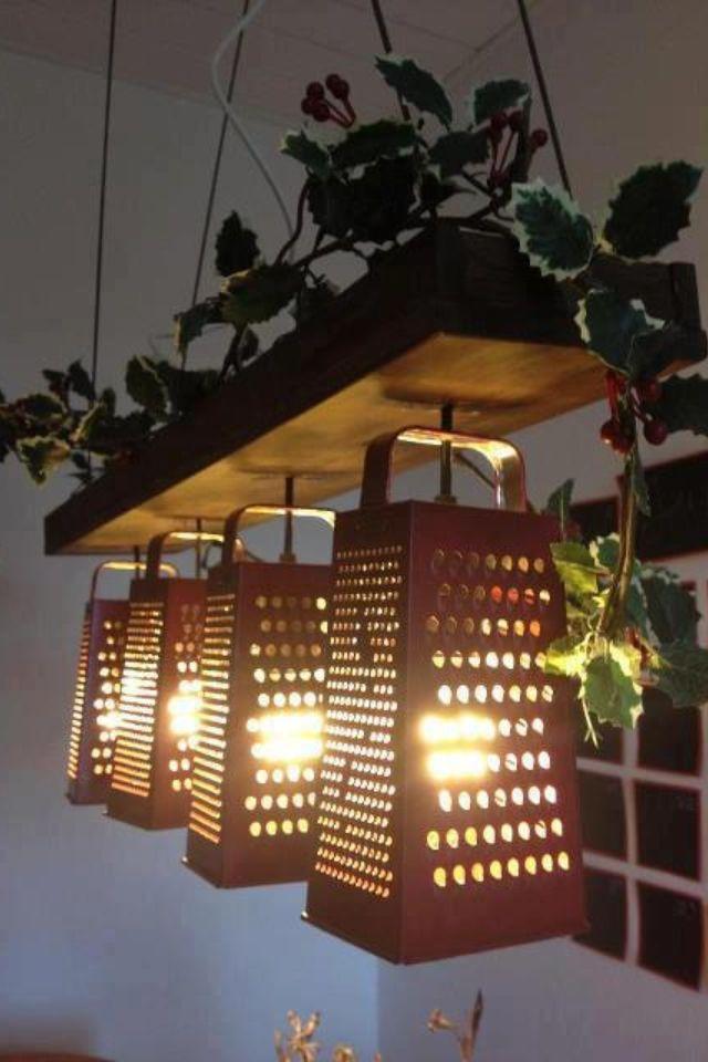 Luminária de raladores, sajtreszelő lámpás, újrahasznosítás, diy