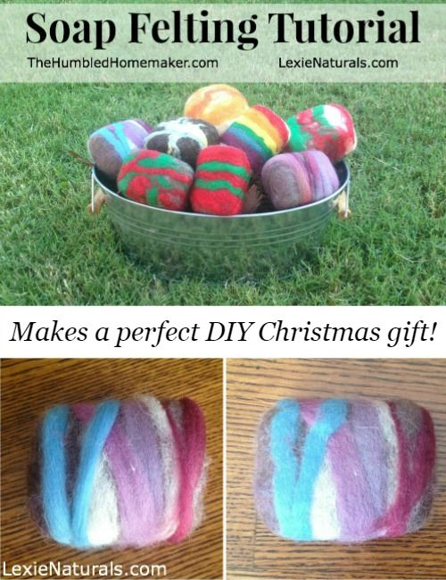 DIY Soap Felting Tutorial (makes a great Christmas gift!) - TheHumbledHomemaker.com #DIY #FeltedSoap