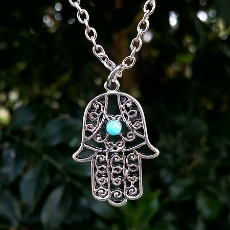 Silver Plated Ornate Hamsa Hand Pendant with Chain