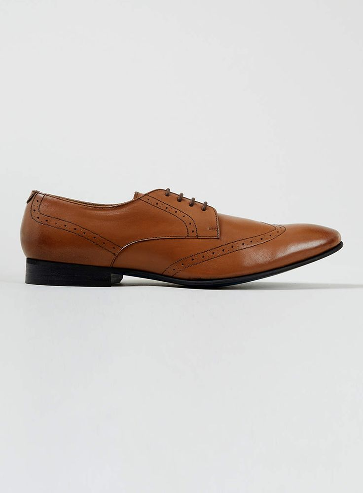 Tan Leather Wingcap Brogues - Smart Shoes - Shoes and Accessories - TOPMAN