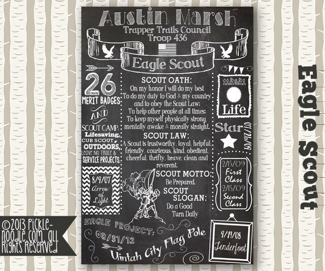 Eagle Scout Court of Honor - Eagle Scout Decorations - Eagle Scout Gift - Eagle Scout Chalkboard - Eagle Scout Infographic - Eagle Scout by PickleNoodleBoutique on Etsy https://www.etsy.com/listing/222469298/eagle-scout-court-of-honor-eagle-scout