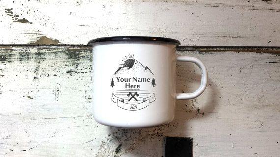 Enamel Mug Name / White Enamel Camping Mug / Metal Tin Cup /