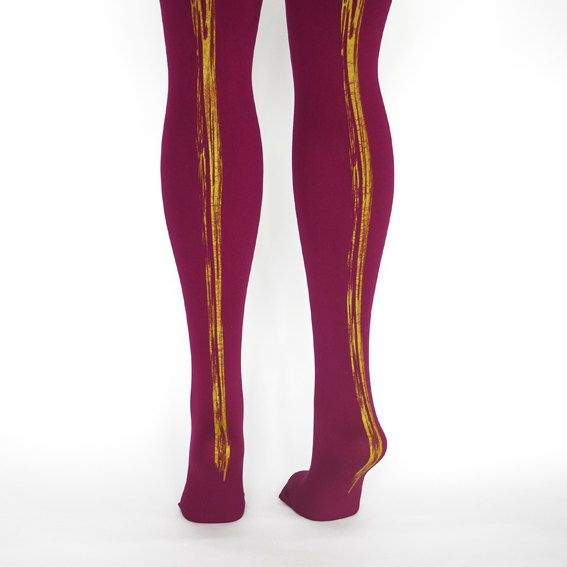 hand printed plum paint stripe tights by hosetights on Etsy