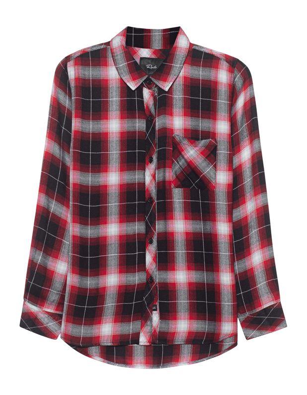 Kariertes Hemd Locker geschnittene rot-schwarz karierte Bluse mit hellgrauen Akzenten sowie geknöpften Manschetten und einer Brusttasche.  Ein easy-going Piece für einen unkomplizierten Everyday-Look!