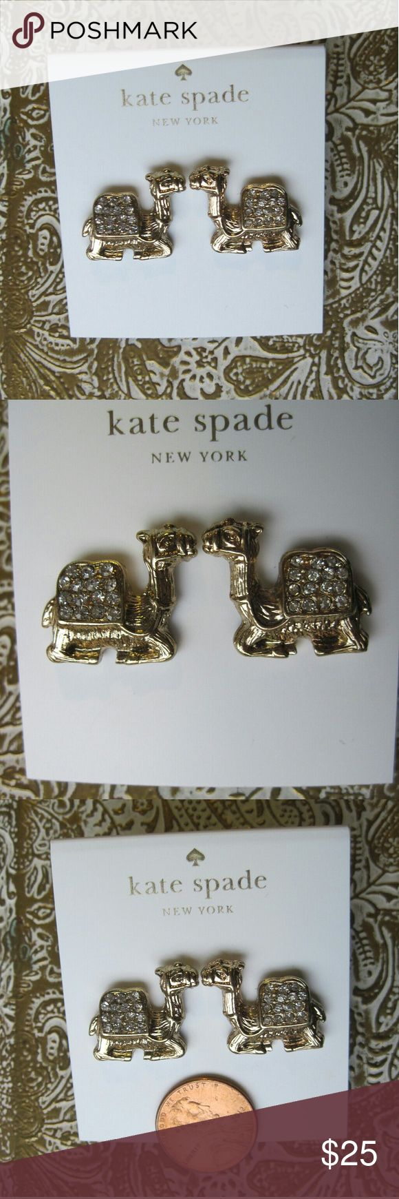 "New Kate Spade Wild One Camel Gold Earrings New, never worn Wild One camel earrings by Kate Spade. Gold plated with clear glass crystal ""diamonds."" kate spade Jewelry Earrings"
