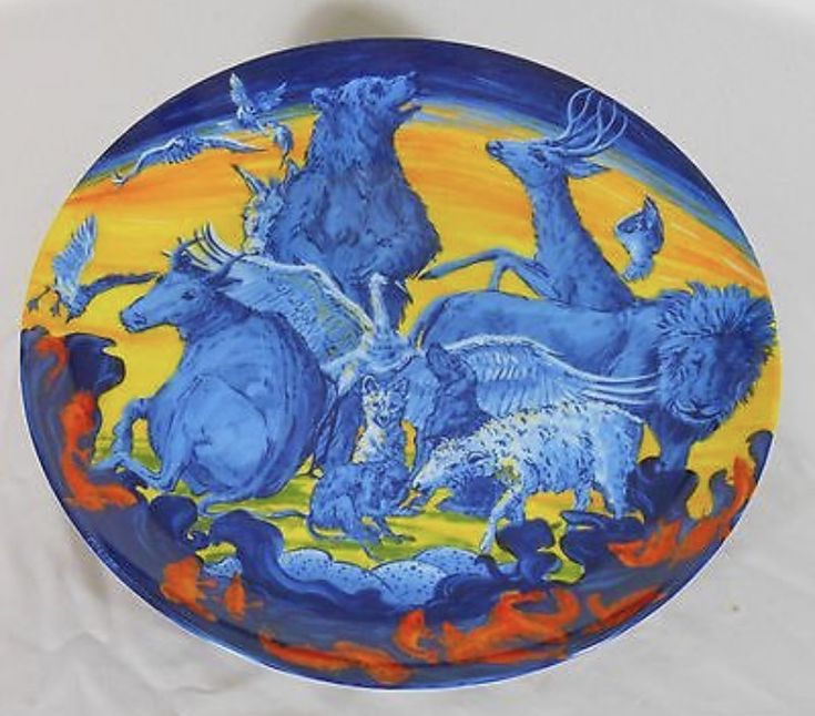 """""""Peaceable Kingdom"""" decorative plate by Melissa Miller, produced by Swid Powell in a limited edition of 250 for the Blaffer Gallery"""