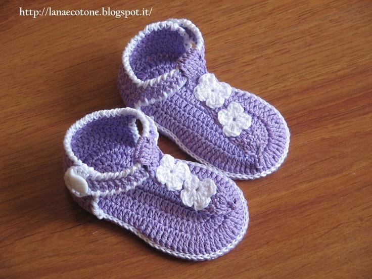 Lana e Cotone (maglia e uncinetto): Infradito all'uncinetto