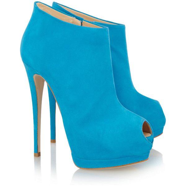 Giuseppe Zanotti Suede peep-toe platform ankle boots ($895) found on Polyvore