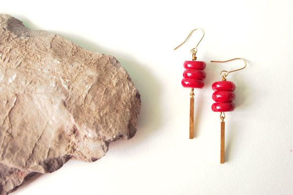 Red Coral Earrings  Red Coral Disc Drop by curiouscreaturesshop, $22.00