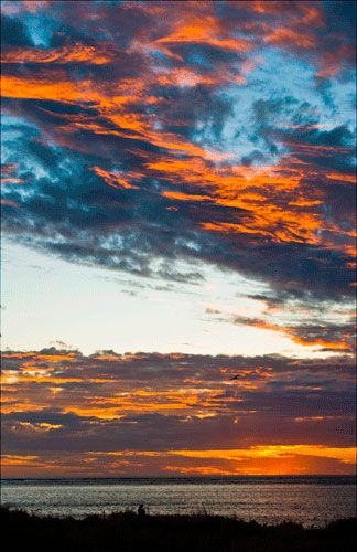 High Clouds at sunset, Osprey Bay, Cape Range National Park, Ningaloo Reef, Exmouth, Western Australia