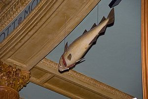 A view from the bottom of a carved codfish suspended from the ceiling of the Massachusetts House of Representatives chamber.