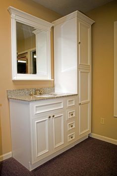 For Small Bathroom   Instead Of A Large Counter Space, Put More Storage In.