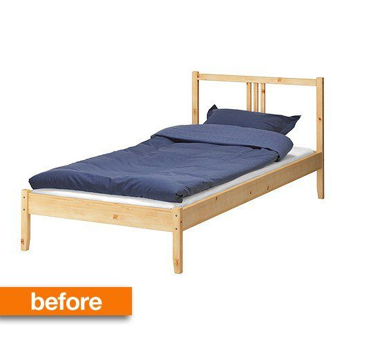 Before & After: Simple IKEA Wooden Bed Frame Gets a Luxe Upholstered LookAll Things Campbell