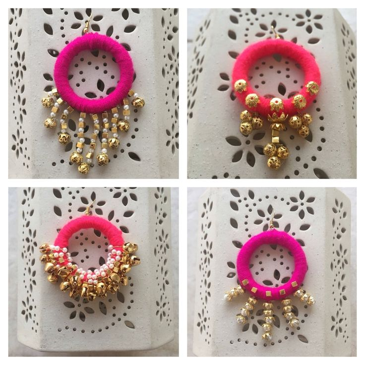 Indian Wedding Gifts - Colorful Earrings with Ghungroos and Pearl Hangings…