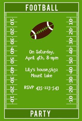"Football Party"" printable invitation template. Customize, add text ..."