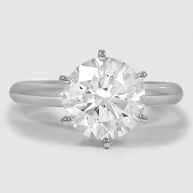 Lab Created Six-Prong Classic Solitaire Diamond Engagement Ring – Platinum (Setting Price)