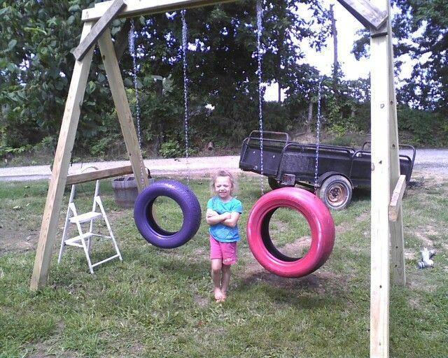 Diy redneck swing set tater pinterest swings for Diy kids swing