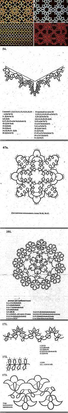 Фриволите Курс женских рукоделий. СХЕМЫ ПЛЕТЕНИЯ.
