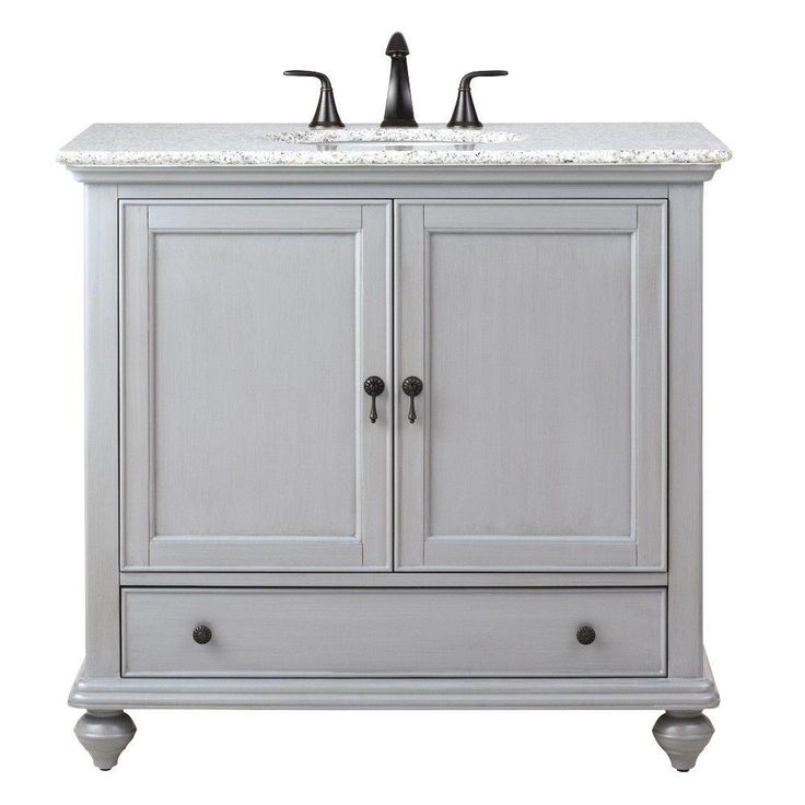 Home Decorators Collection Newport 37 in. W x 21.5 in. D Single Vanity in Pewter with Granite Vanity Top in Grey with White Basin