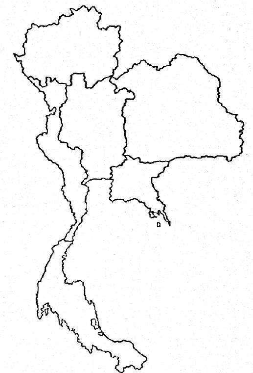 ฉีก-ปะ กระดาษ แผนที่ประเทศไทยลายเส้น Thailand Map