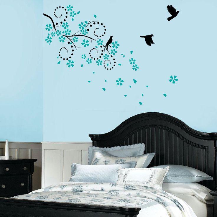 Wall Sticker Spring Blosson with Birds  |  Autocollant mural Floraison et oiseaux