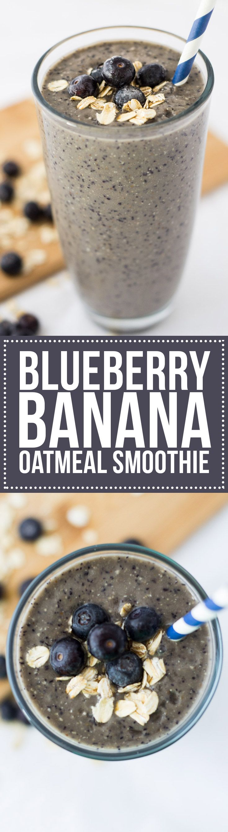 This Blueberry Banana Oatmeal Smoothie is the perfect breakfast smoothie recipe to start the day! With fresh fruit, whole grains and yogurt, it's so good for you!