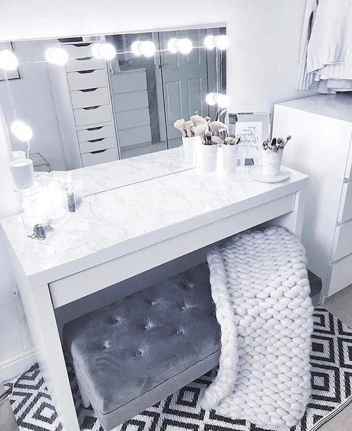 White Makeup Vanity Marble Countertop White Blanket Grey Velvet