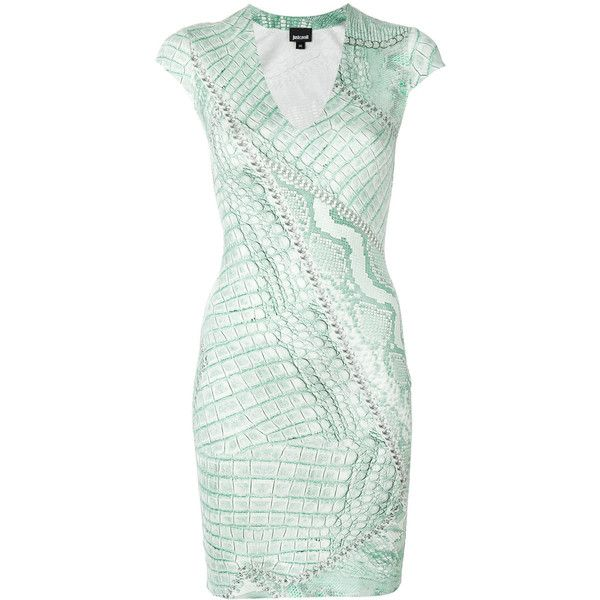 Just Cavalli snakeskin print bodycon dress ($371) ❤ liked on Polyvore featuring dresses, green, python print dress, bodycon dress, snake print dresses, snakeskin print dress and just cavalli dresses