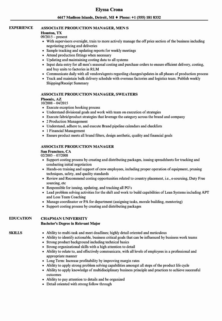 production assistant job description resume awesome 10 resume for production manager