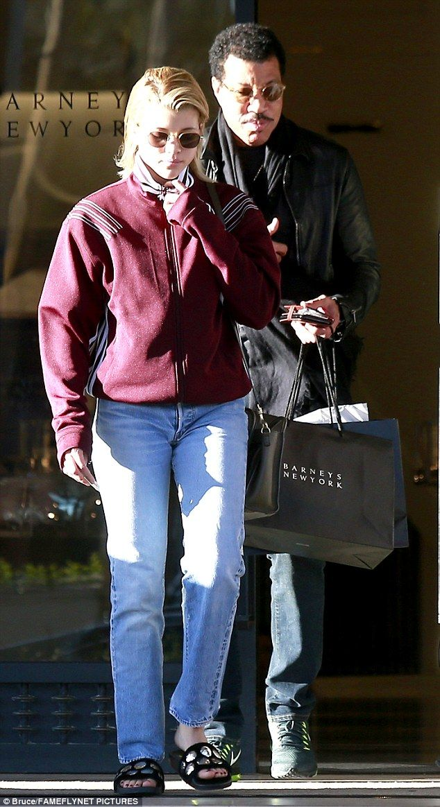 Daddy's treat: Lionel Richie, 67, and daughter Sofia, 18, were spotted leaving Barney's New York in Beverly Hills on Sunday after a joint shopping expedition