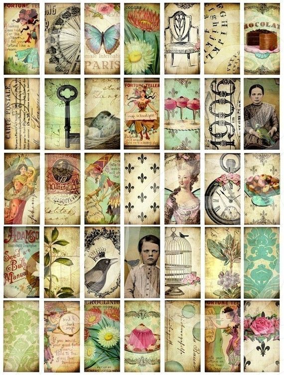 WHiMSiCaL 1 x 2 inch vintage designs Digital Collage Sheet Domino Size images clear glass rectangles pendant scrapbooking supplies sh1a