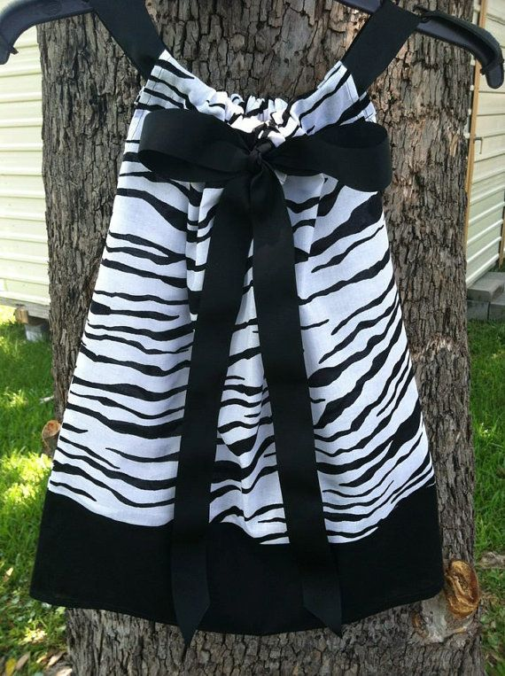 Zebra Pillow Case Dress with Front or Back Ribbon by ktcatastrophe $18.00 & 181 best Sewing pillowcase to dress images on Pinterest | Sewing ... pillowsntoast.com
