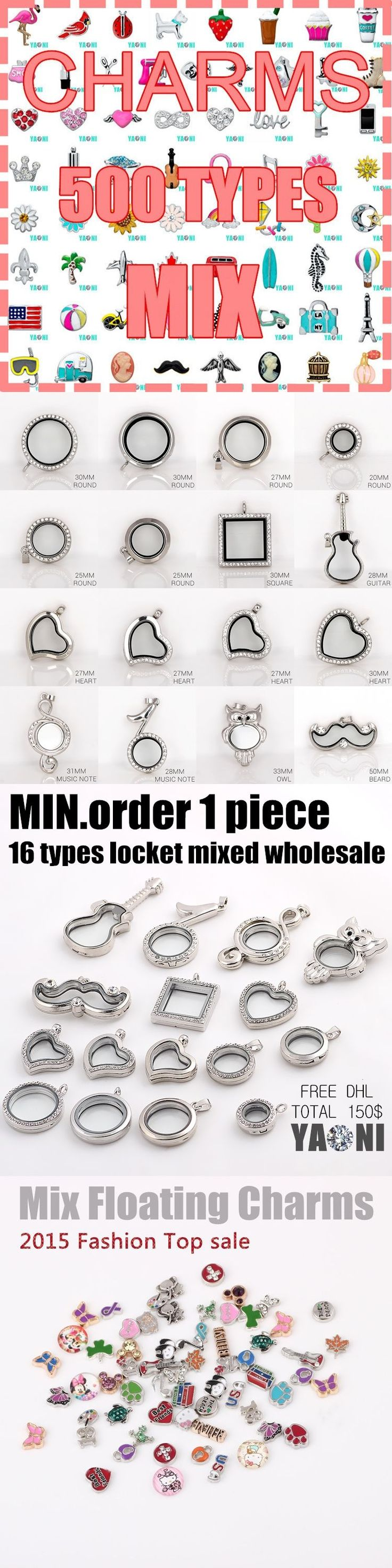Shuyani Min.order 1pcs! 16 designs Floating Locket Magnet Glass Floating Charms Locket Living Memory Locket Pendant