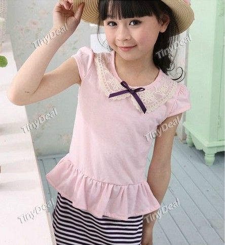 http://www.tinydeal.com/es/patchwork-striped-cotton-casual-dresses-for-kids-children-girls-p-99837.html:Patchwork Striped Cotton Casual Dresses for Kids Children Girls