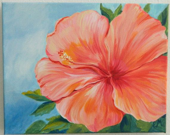 Flower Painting Gift Hibiscus Painting Coral hibiscus