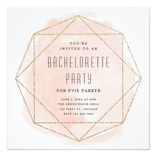 Watercolor faux glitter bachelorette party invite. Bachelorette Party Invite- Stagette Party Invite -Custom Invitation - Order yours at Boardman Printing