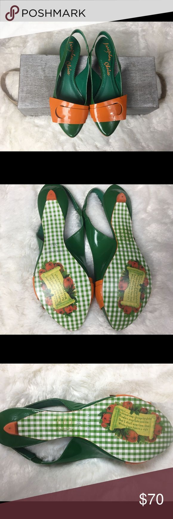 Irregular Choice size 38 1/2 (USA size 7 1/2) Irregular Choice NWOB Green & Orange Kitten Heel Sandals. Irregular Choice website states 38 1/2 is equivalent to US size 7 1/2. Brand new Condition without tags or box. Irregular Choice Shoes Sandals