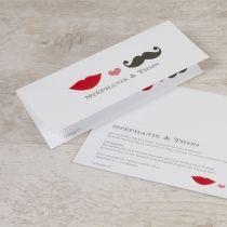Speelse typografiekaart met lip en snor   Tadaaz #uitnodiging #huwelijk