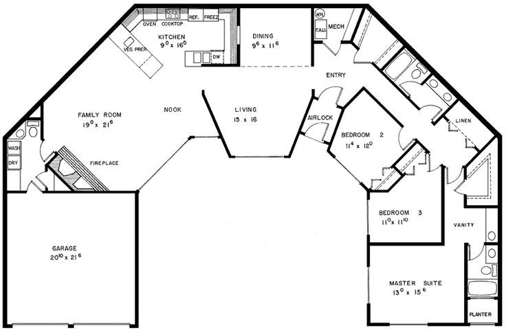 2 bedroom u shaped floor plans withcourtyard | Carnaby Creek Contemporary Home Plan 085D-0280 | HousePlans and More