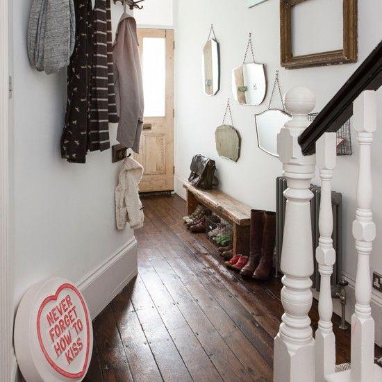White and dark wood floor hallway   Hallway decorating   Ideal Home   Housetohome.co.uk