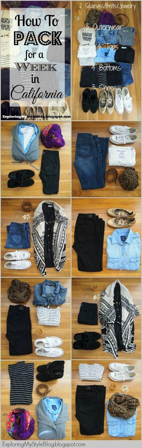 What to Pack for a Week in California: Winter. How to Pack. How to pack a carry on bag. A week's worth of outfits in a carry on bag. Exploring My Style blog. (what to wear on holiday)