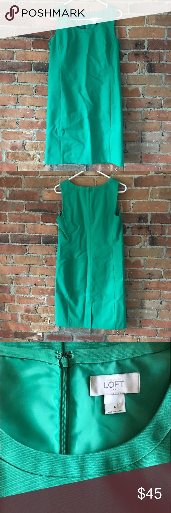 """NWOT Green LOFT dress Never worn LOFT light green dress perfect for summer work wardrobe! Looser fit but still has definition. Fully lined, 36"""" long, 28"""" armpit to bottom, 36"""" bust, 6"""" slit in back, still sewn closed! ⭐️Pet free & smoke free home, open to offers! LOFT Dresses Midi"""