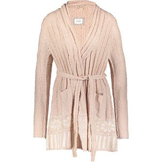 Pink Knitted Patterned Robe