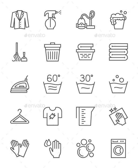 Set Of Cleaning Service Line Icons  Pack Of 64x64 Pixel Icons  Fully