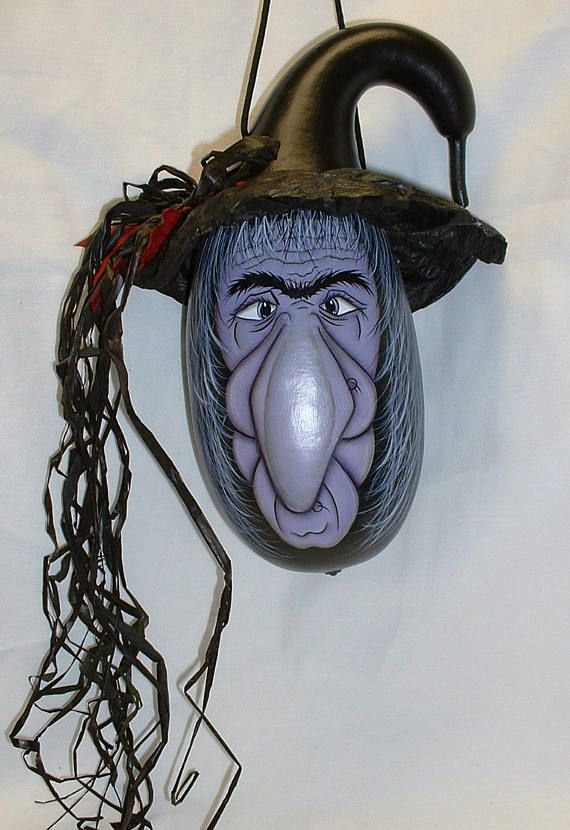 Halloween Witch Gourd  Hand Painted Gourd
