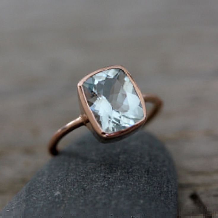 Aquamarine Cushion Gemstone OCEAN Blue in Recycled 14k Rose Gold by Madelynn Cassin.... in case anyone wants to engage me.