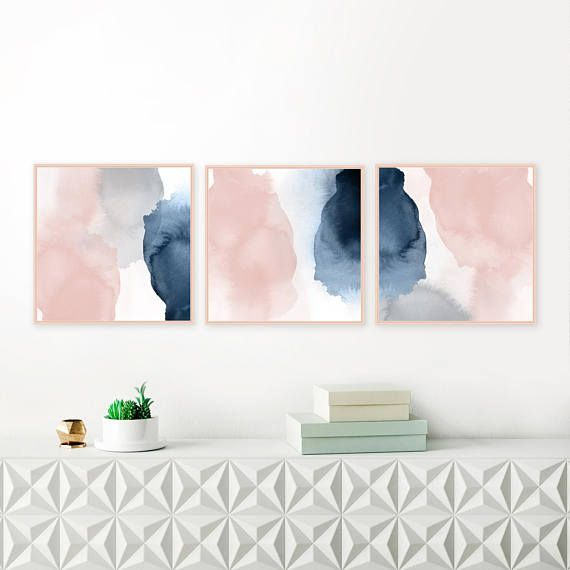 Pink Navy Wall Art Set Gallery Wall Set Set Of 3 Prints 3 Etsy Oversized Wall Art Gallery Wall Art Set Blush Walls