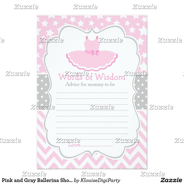 Pink and Gray Ballerina Shower Words of Wisdom Card